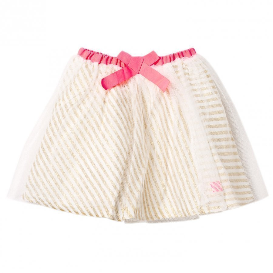 Billieblush Gold Glitter Stripe And Tulle Overlay Skirt Tyllihame