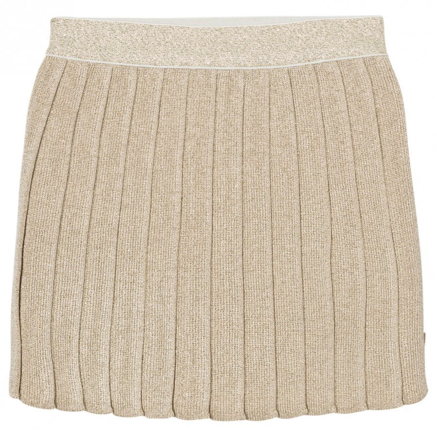 Billieblush Gold Knitted Lurex Pleated Skirt Kellohame