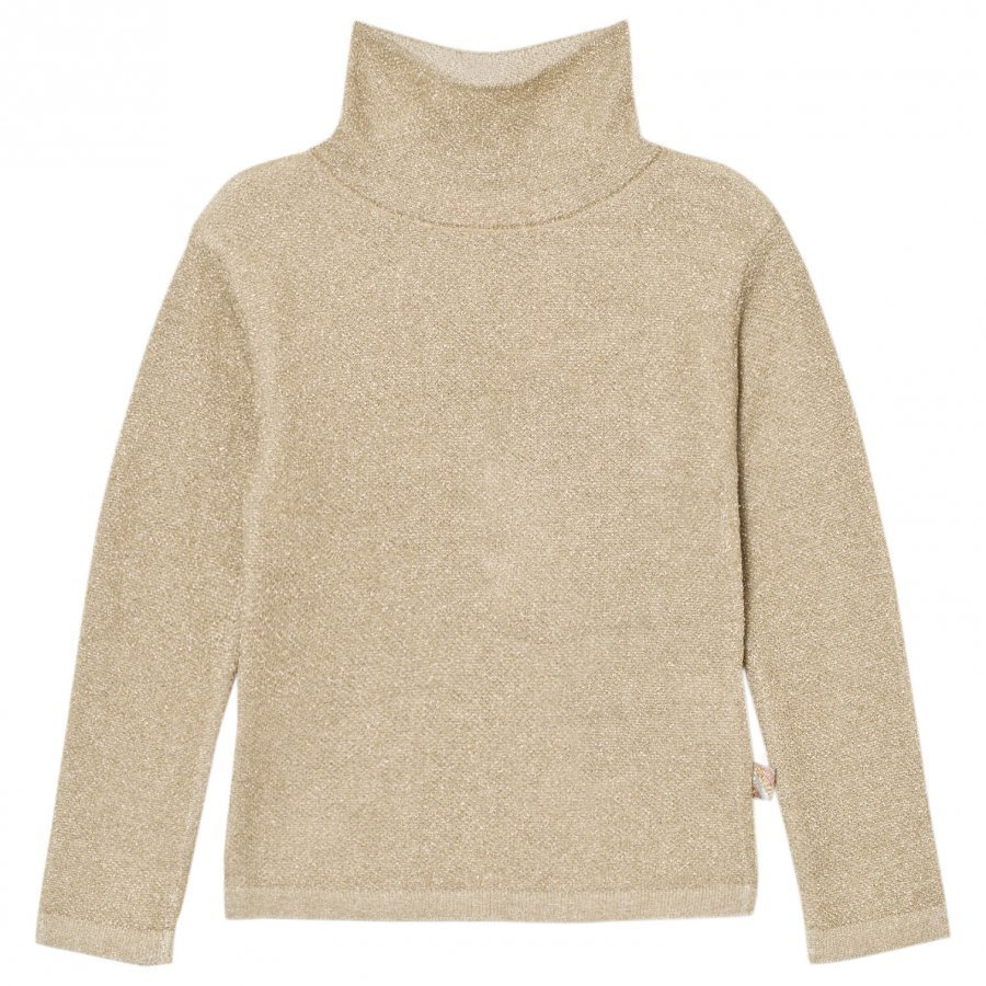 Billieblush Gold Lurex Turtle Neck Sweater Paita