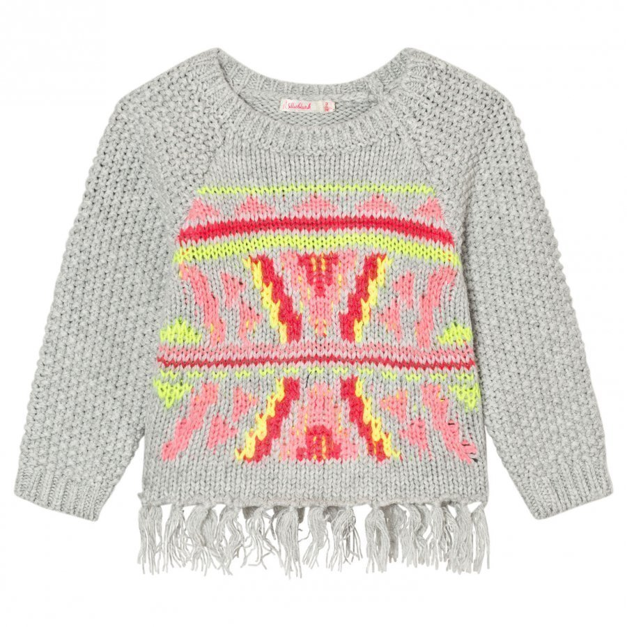 Billieblush Grey Knitted Patterned Tassle Jumper Paita