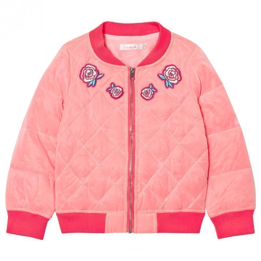 Billieblush Hot Pink Embroidred Rose Quilted Bomber Jacket Bomber Takki