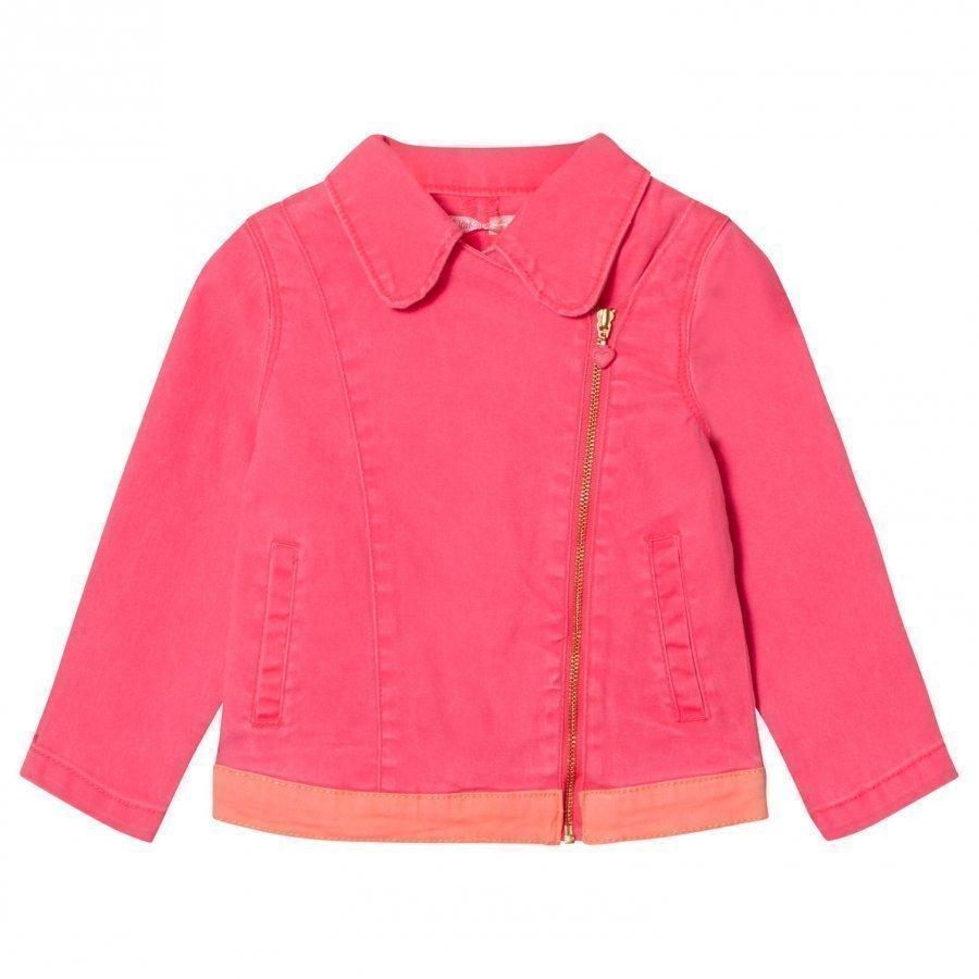Billieblush Hot Pink Twill Biker Jacket Biker Takki