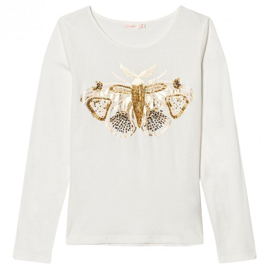 Billieblush Ivory Beaded Moth Tee T-Paita