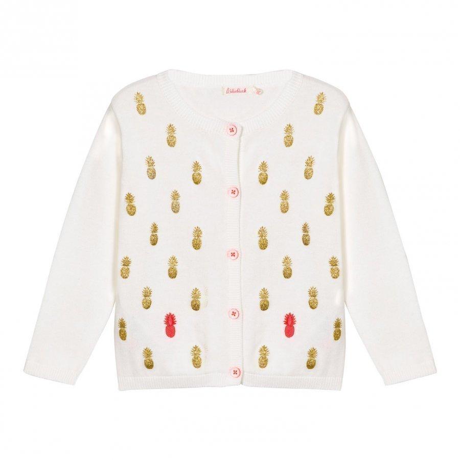 Billieblush Ivory Cardigan With Glitter Pineapple Neuletakki
