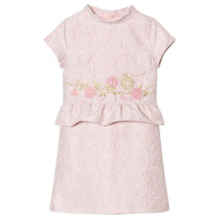 Billieblush Lurex Flower Embroidered Dress In Pale Pink Juhlamekko