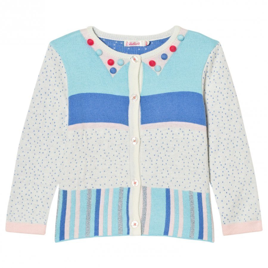 Billieblush Multi Patterned Knit Pom Pom Cardigan Neuletakki
