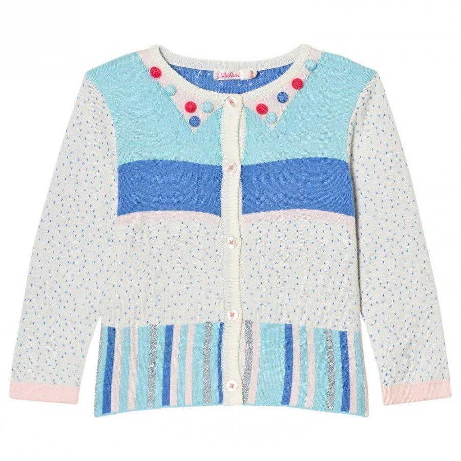 Billieblush Multi Patterned Knit Pom Pom Cardigan Neuletakki