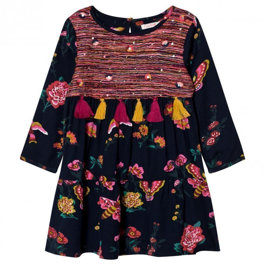 Billieblush Navy Floral Print Tassel Dress Mekko
