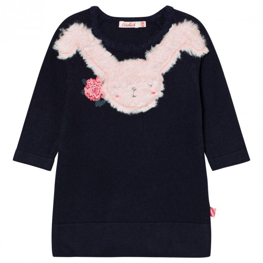 Billieblush Navy Knitted Dress Faux Fur Bunny Applique Mekko
