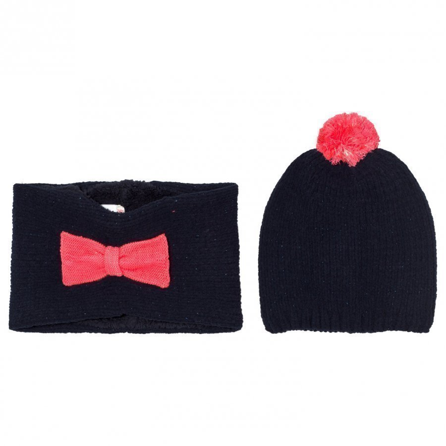 Billieblush Navy Pink Bow Hat Snood Scarf Set Pipo
