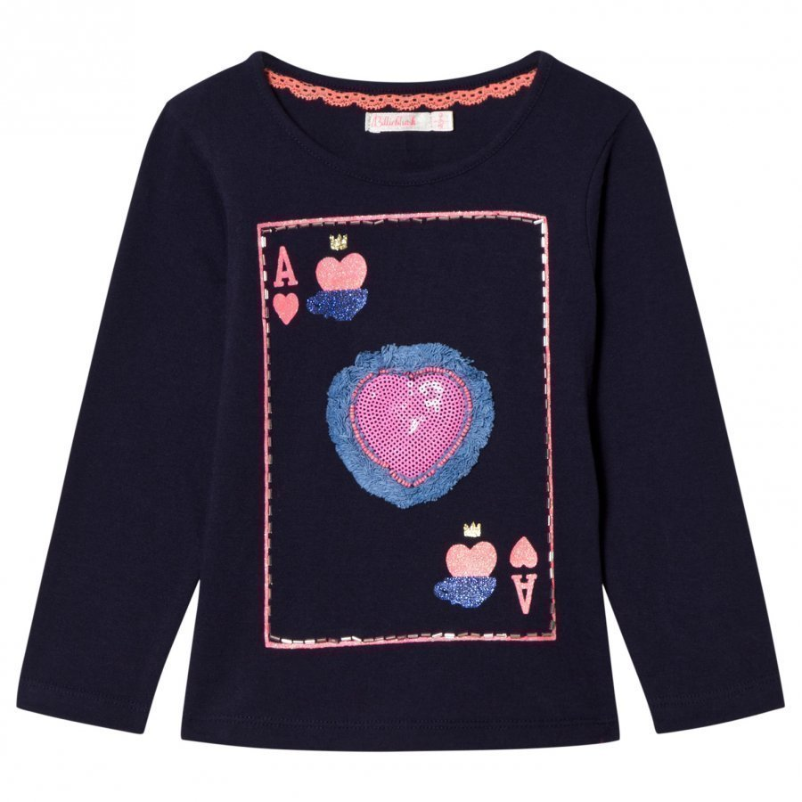 Billieblush Navy Playing Card Sequin Tee T-Paita