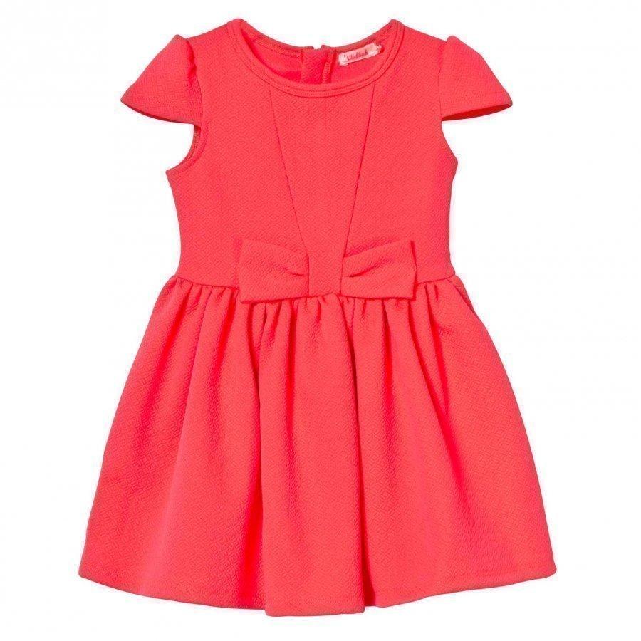 Billieblush Neon Pink Dress Jacquard Bow Party Dress Juhlamekko