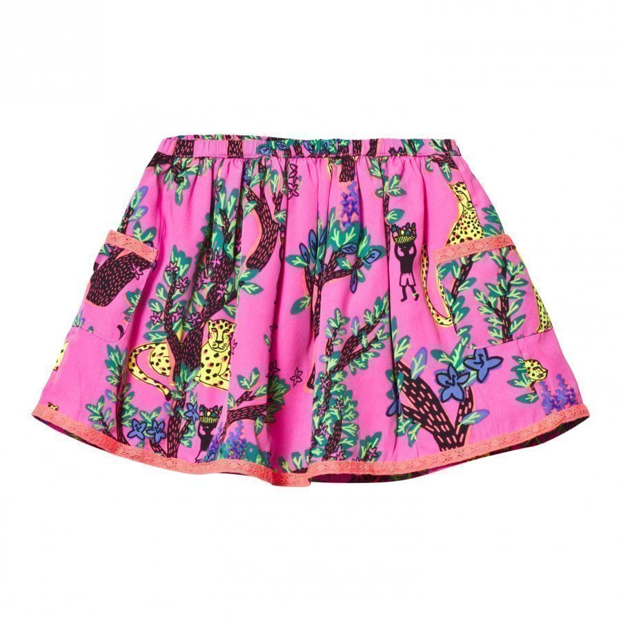 Billieblush Neon Pink Jungle Print Crepe Skirt Lyhyt Hame