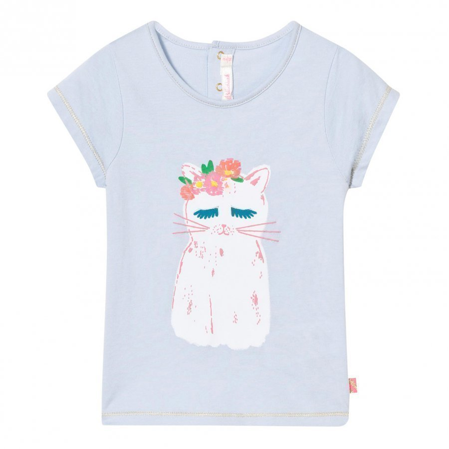 Billieblush Pale Blue Cat Print Tee T-Paita