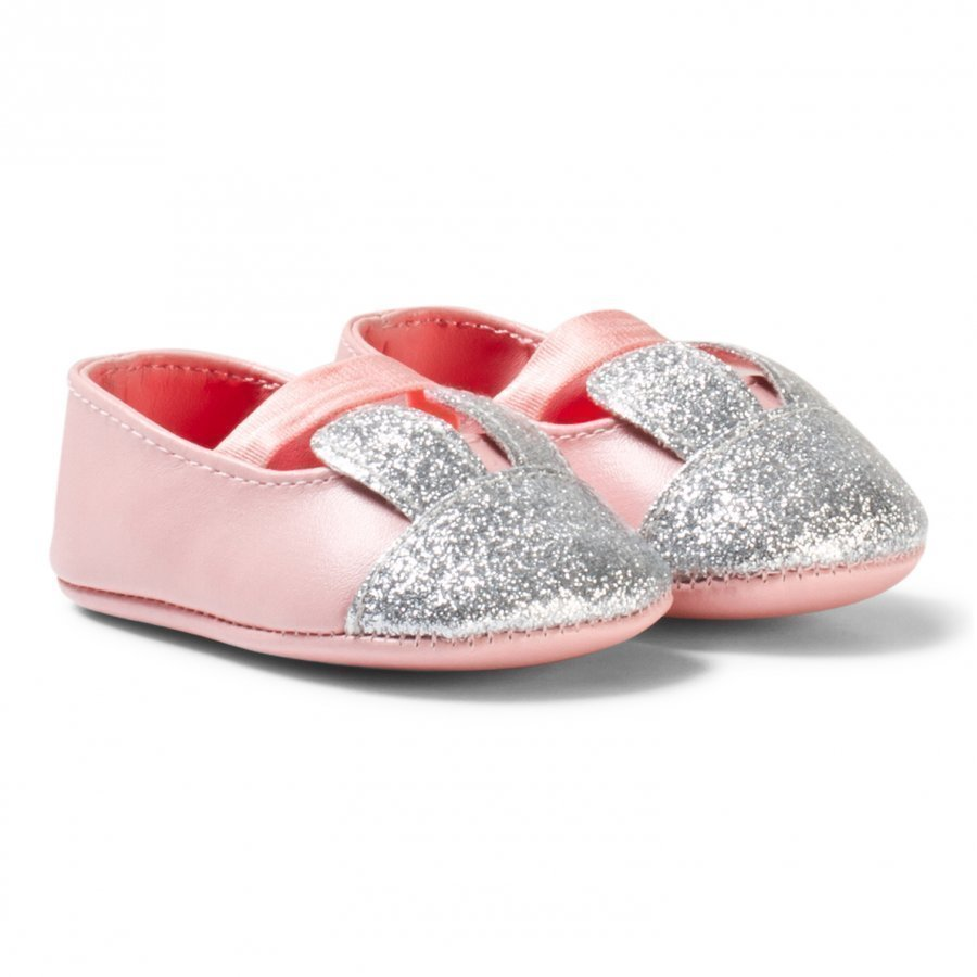 Billieblush Pale Pink And Silver Glitter Bunny Crib Shoes Vauvan Kengät
