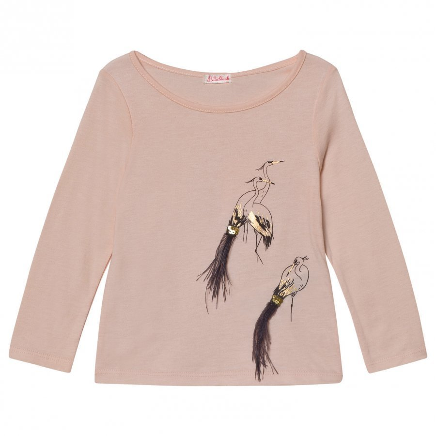 Billieblush Pale Pink Bird Tee With Sequins And Feathers T-Paita