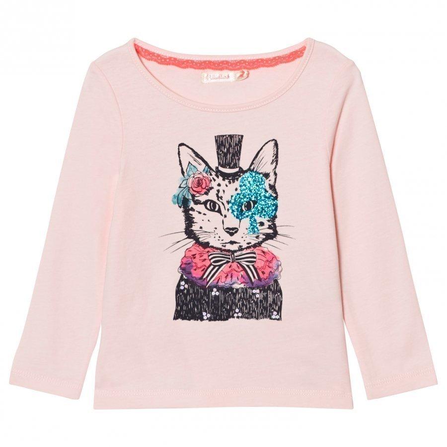 Billieblush Pale Pink Cat Hat Print Tee T-Paita