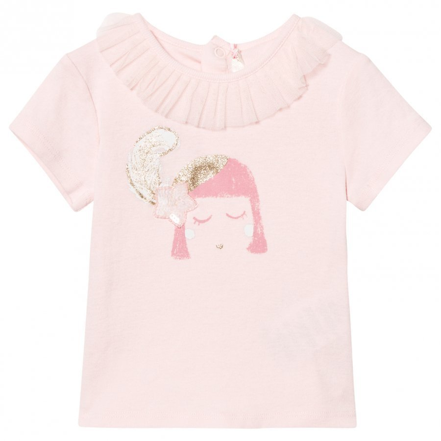 Billieblush Pale Pink Face Print Tee With Ruffle Tulle Collar T-Paita