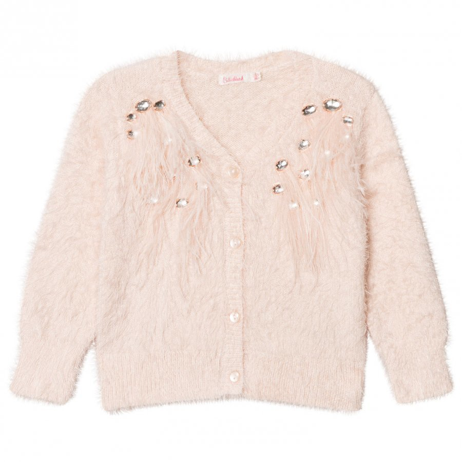 Billieblush Pale Pink Feathered Cardigan Paita