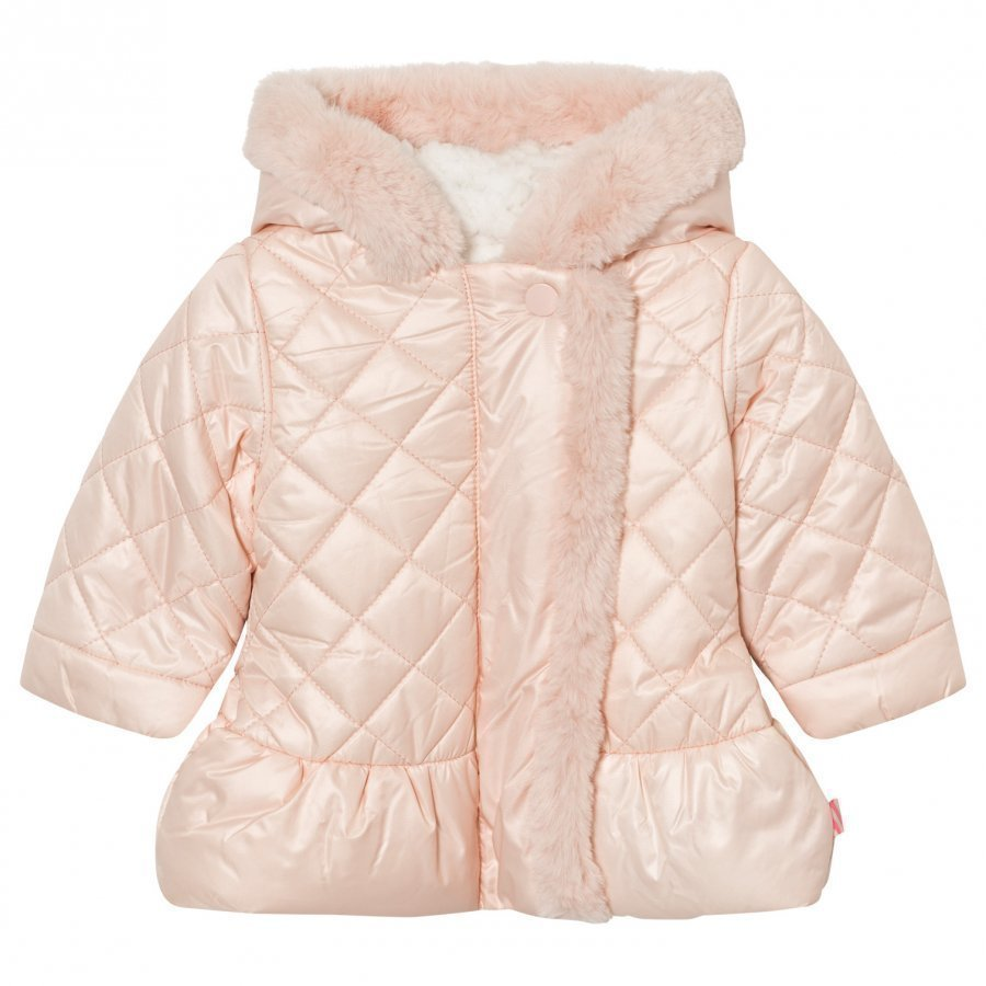 Billieblush Pale Pink Quilted Faux Fur Lined Hooded Coat Toppatakki