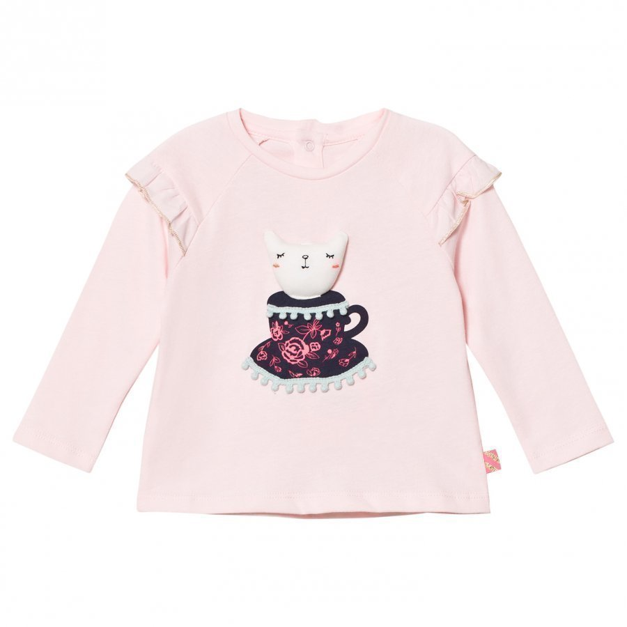 Billieblush Pale Pink Tee With 3d Applique Cat T-Paita