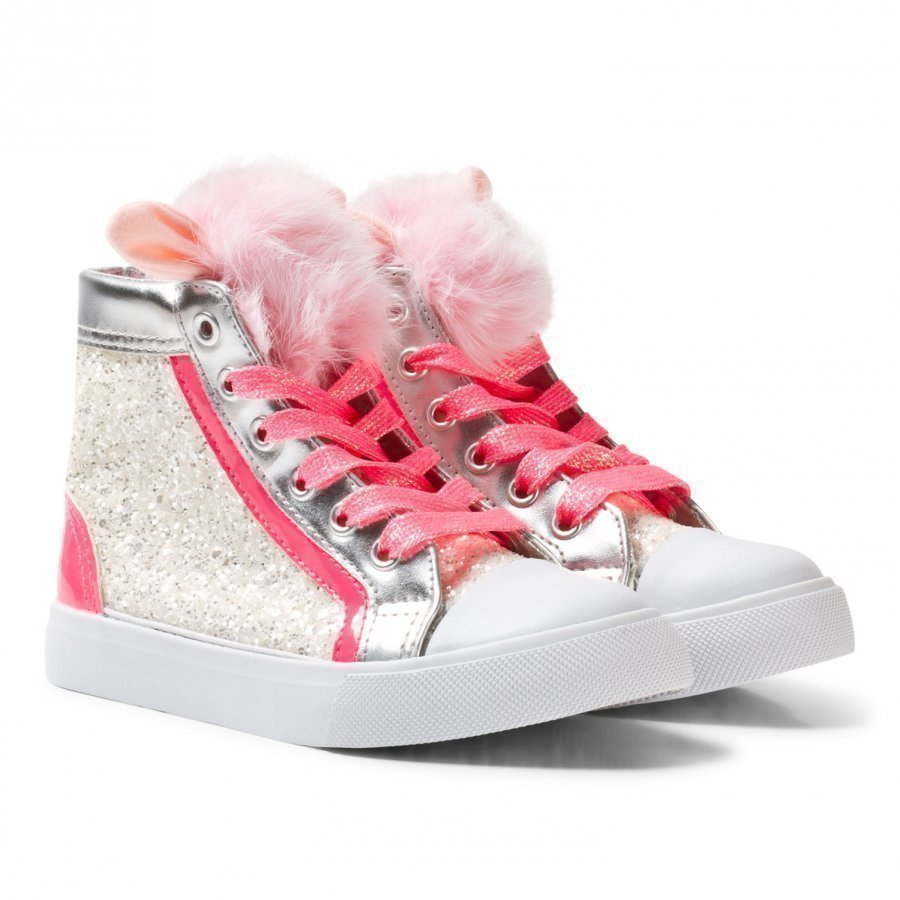 Billieblush Pink Glitter Pom Pom High Top Trainer Korkeavartiset Kengät