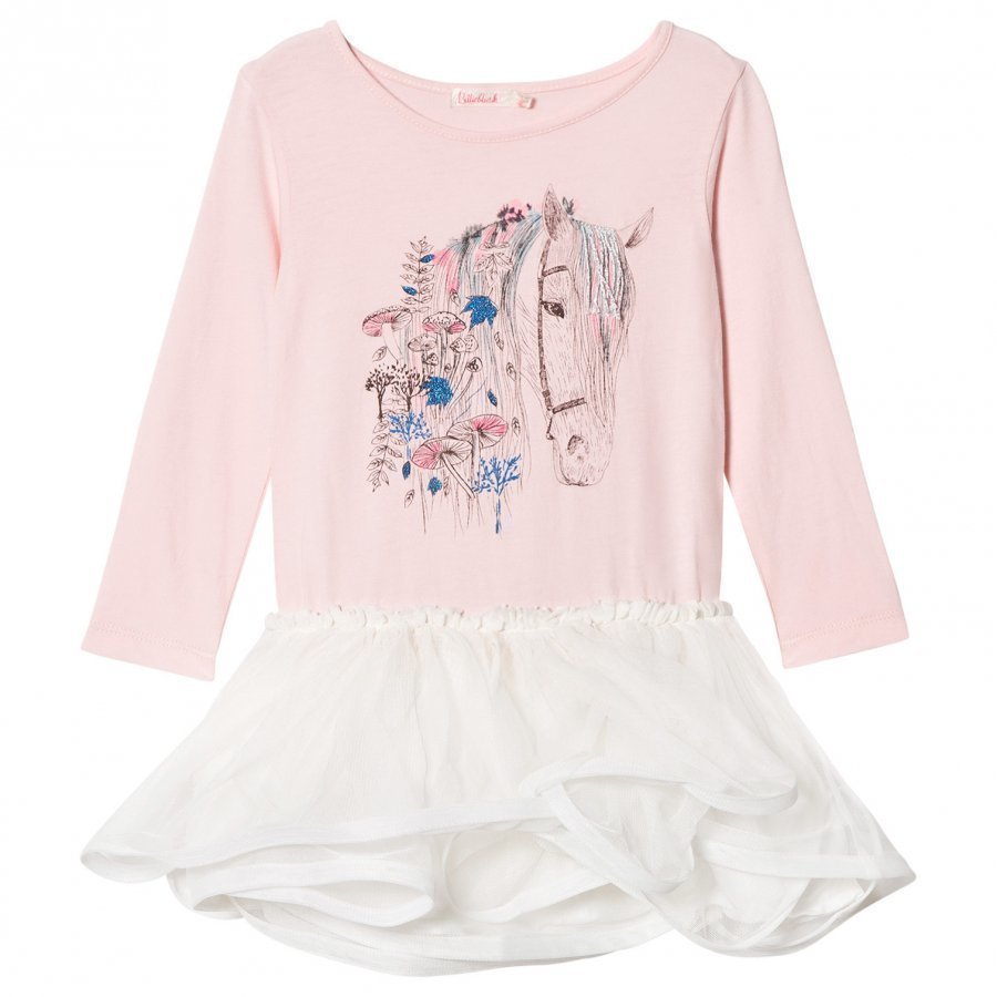 Billieblush Pink Horse Embellished Jersey And Tulle Dress Juhlamekko