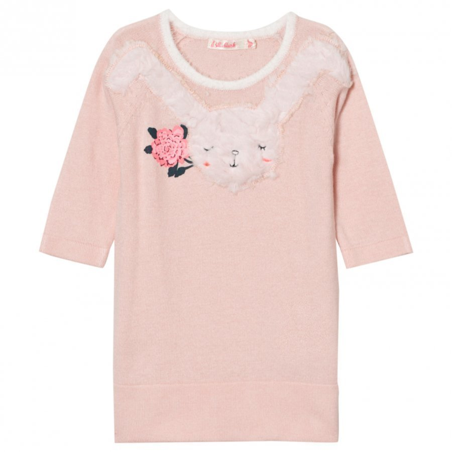 Billieblush Pink Knitted Dress Faux Fur Bunny Applique Mekko