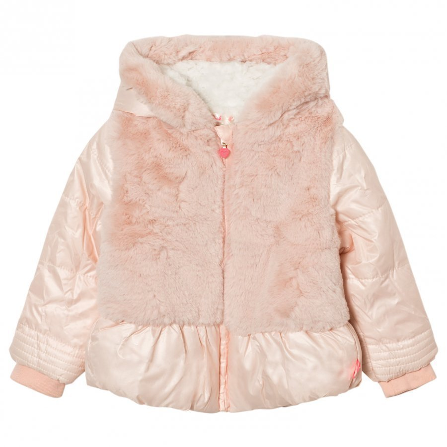 Billieblush Pink Puffer Faux Fur Hooded Coat Turkis