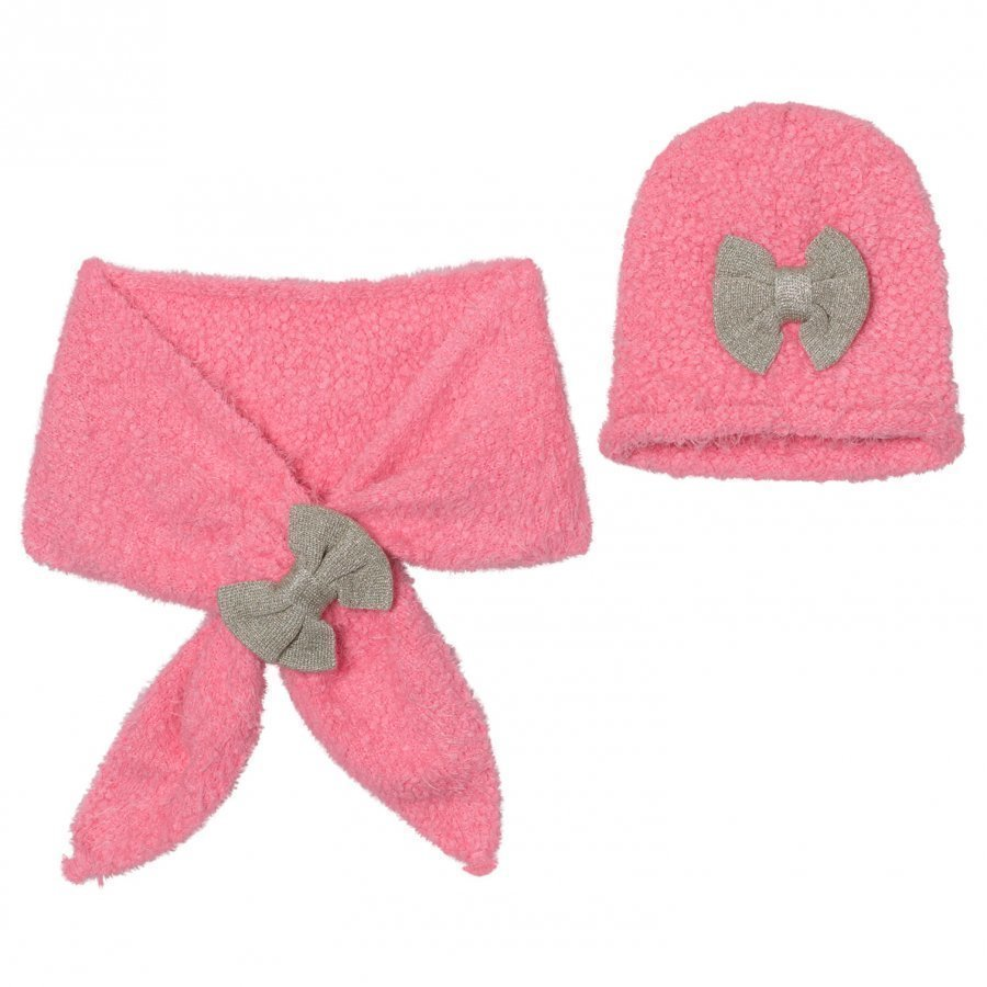 Billieblush Pink Silver Bow Hat Scarf Set Pipo