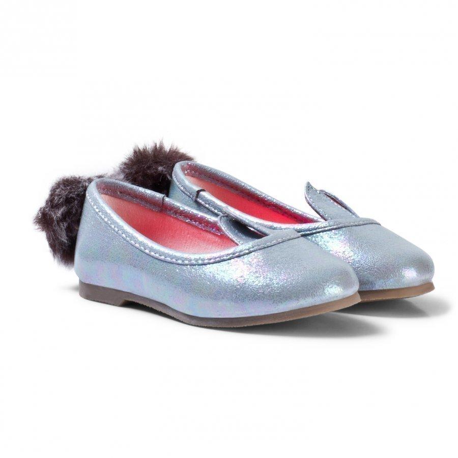 Billieblush Silver Metallic Bunny Pumps Ballerinat