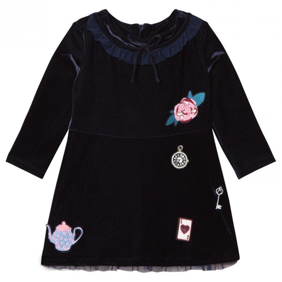 Billieblush Velvet Tea Party Applique Dress Navy Mekko