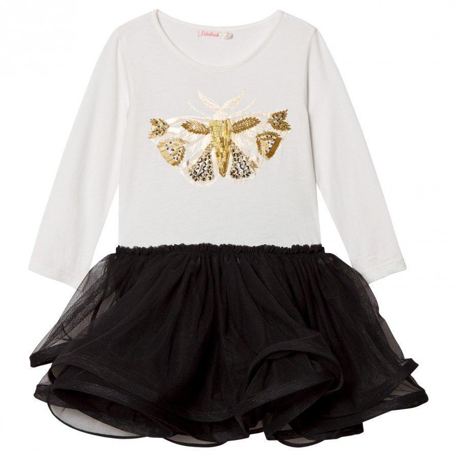 Billieblush White And Black Bee Embellished Jersey And Tulle Dress Mekko