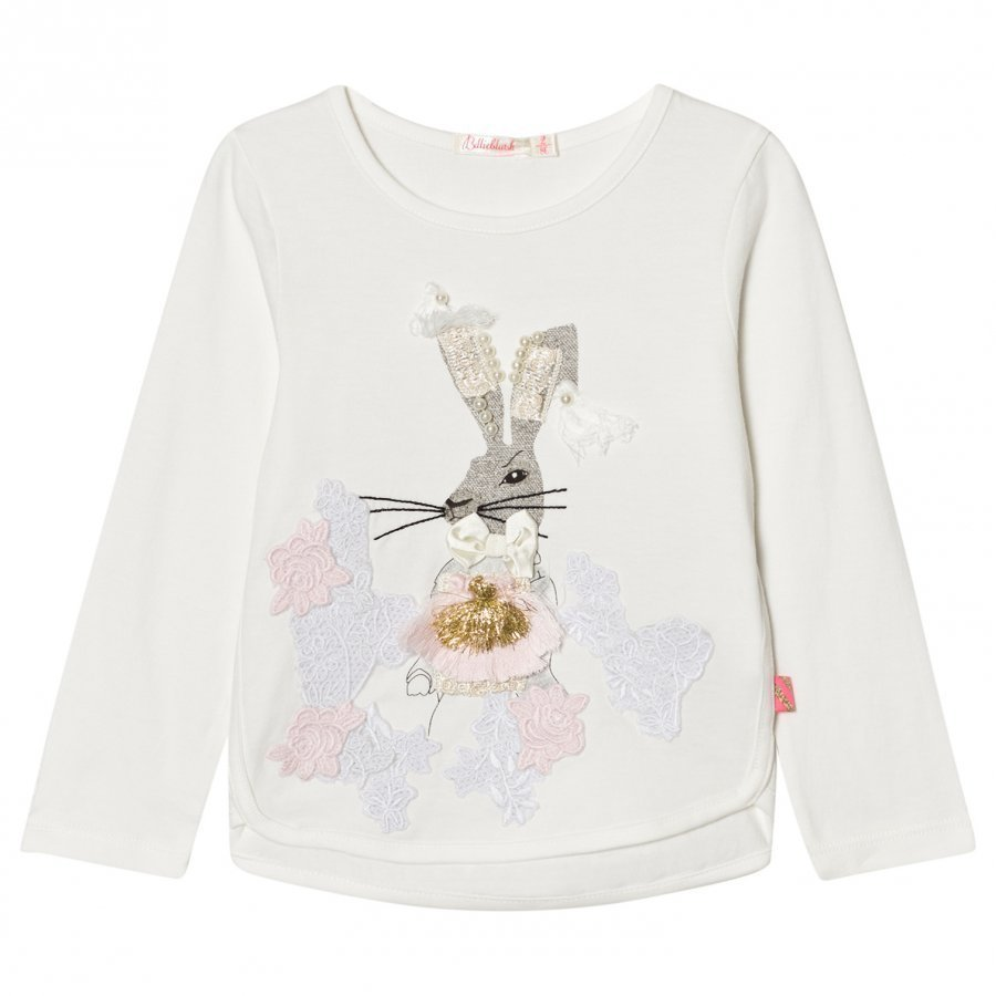Billieblush White Beaded Bunny Tee T-Paita