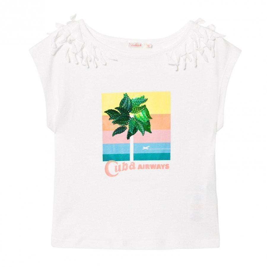 Billieblush White Cuba Tee With 3d Leaf Applique T-Paita