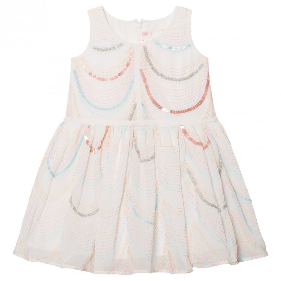 Billieblush White Organza Sequin And Embroidered Dress Mekko