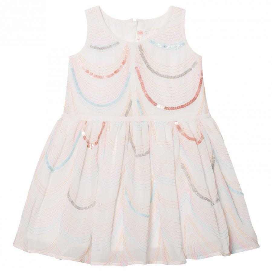 Billieblush White Organza Sequin And Embroidered Dress Mekko