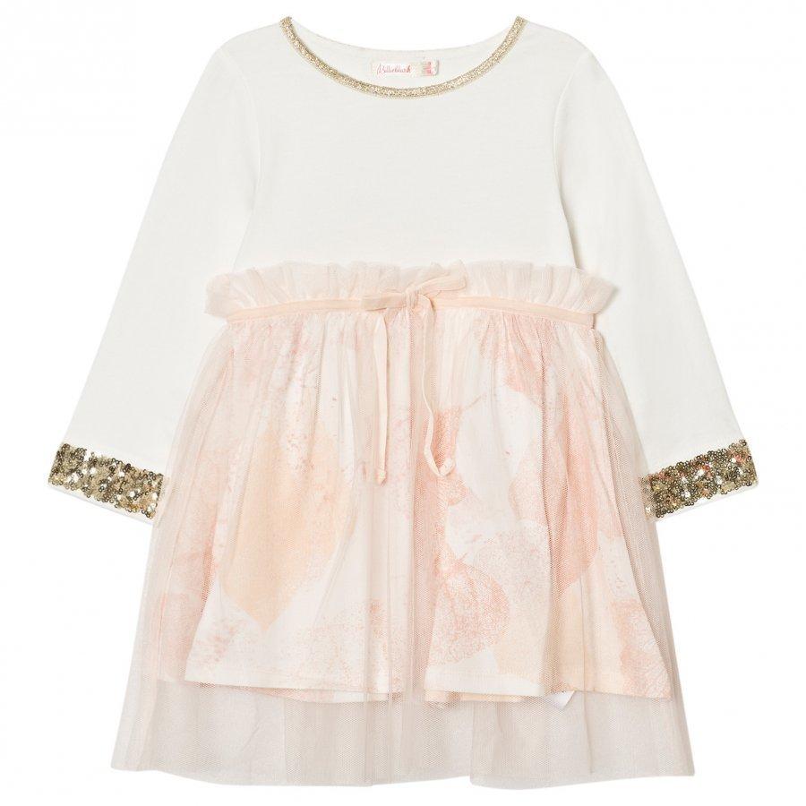 Billieblush White Pale Pink Sequin Floral Dress Juhlamekko
