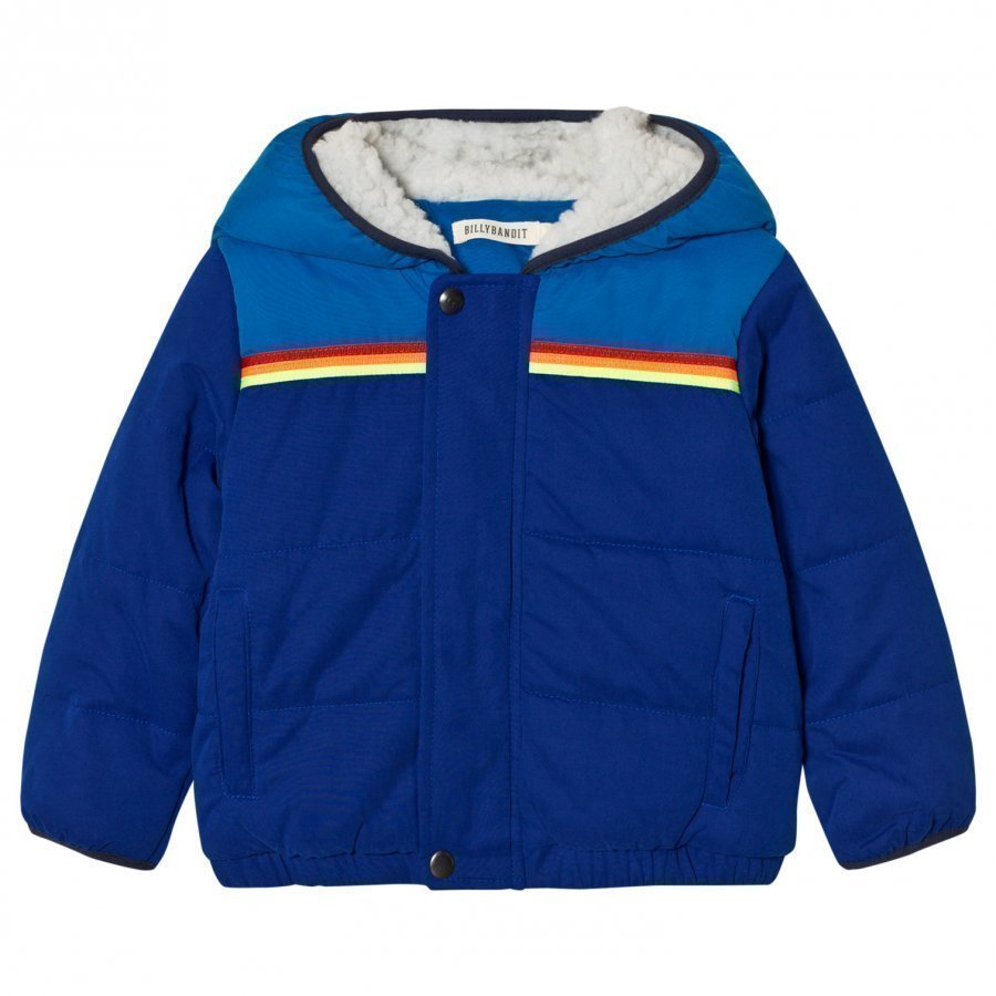 Billybandit Blue Colorblock Hooded Puffer Coat Toppatakki