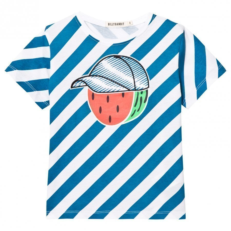 Billybandit Blue Stripe Mr Watermelon Print Tee T-Paita