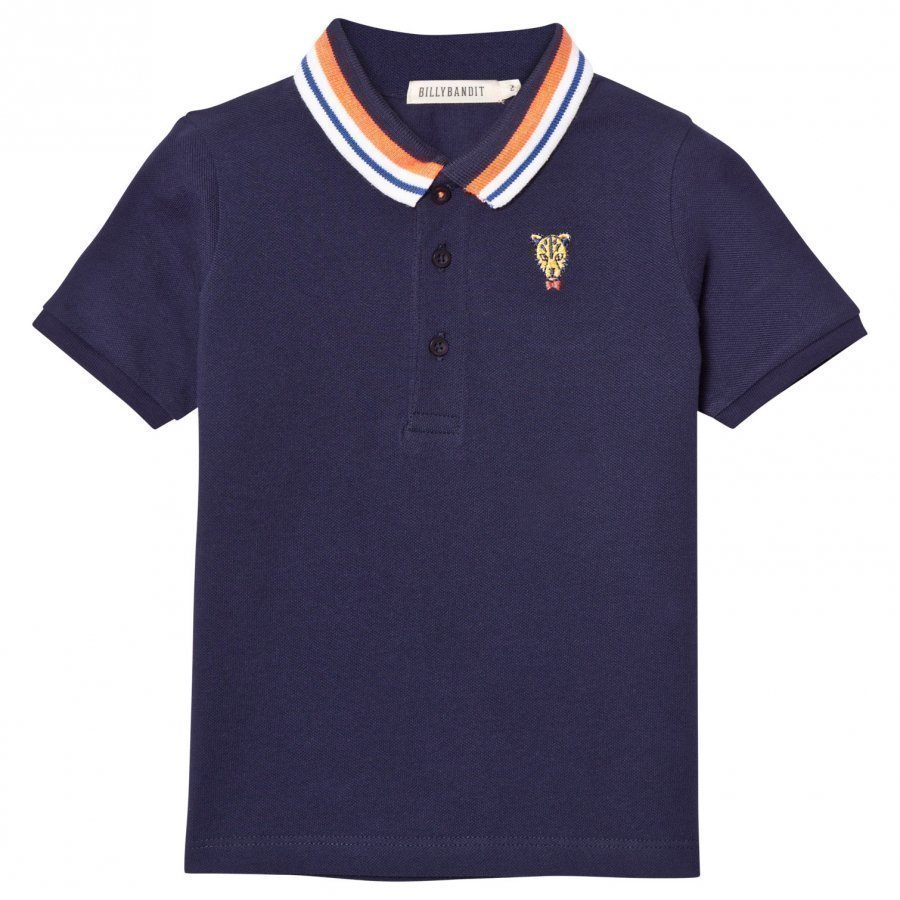 Billybandit Navy Pique Polo With Tiger Badge Pikeepaita
