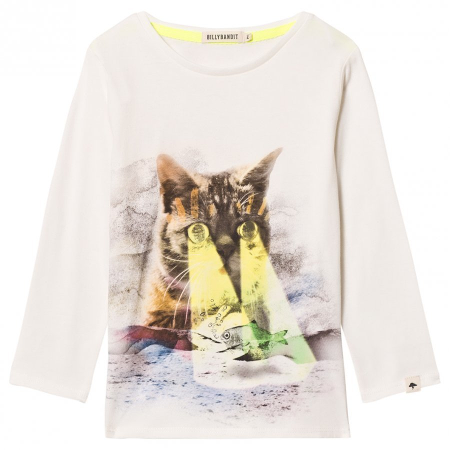 Billybandit White Cat And Fish Print Tee T-Paita