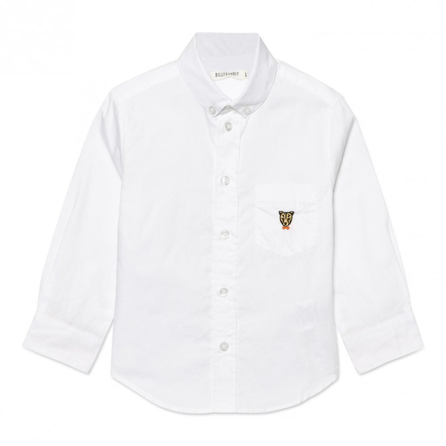 Billybandit White Oxford Shirt With Leopard Print Cuffs Kauluspaita