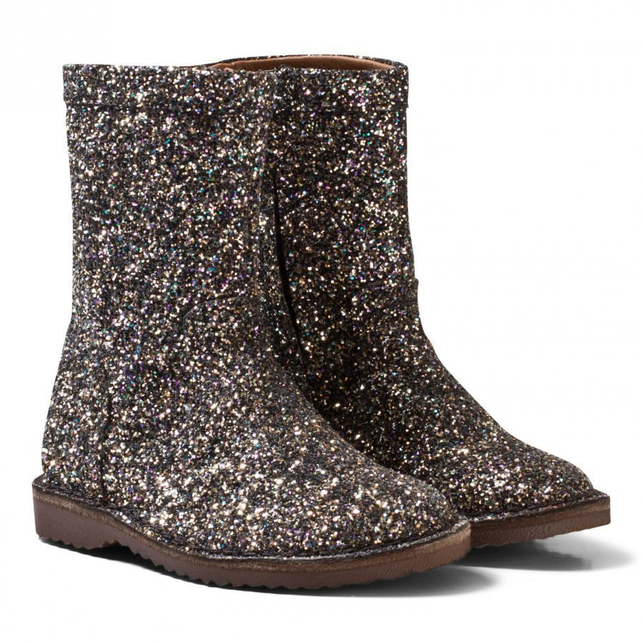 Bisgaard Black Glitter Leather Lined Boots Korkeavartiset Saappaat