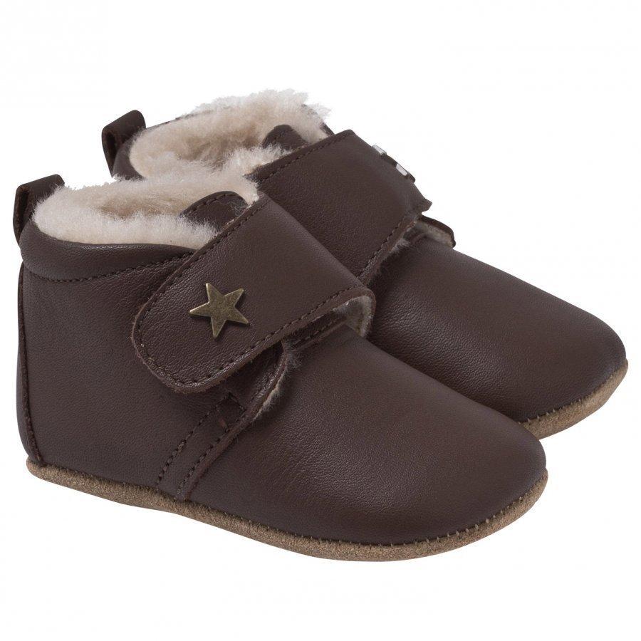 Bisgaard Star Home Shoe With Wool Brown Sisätossut