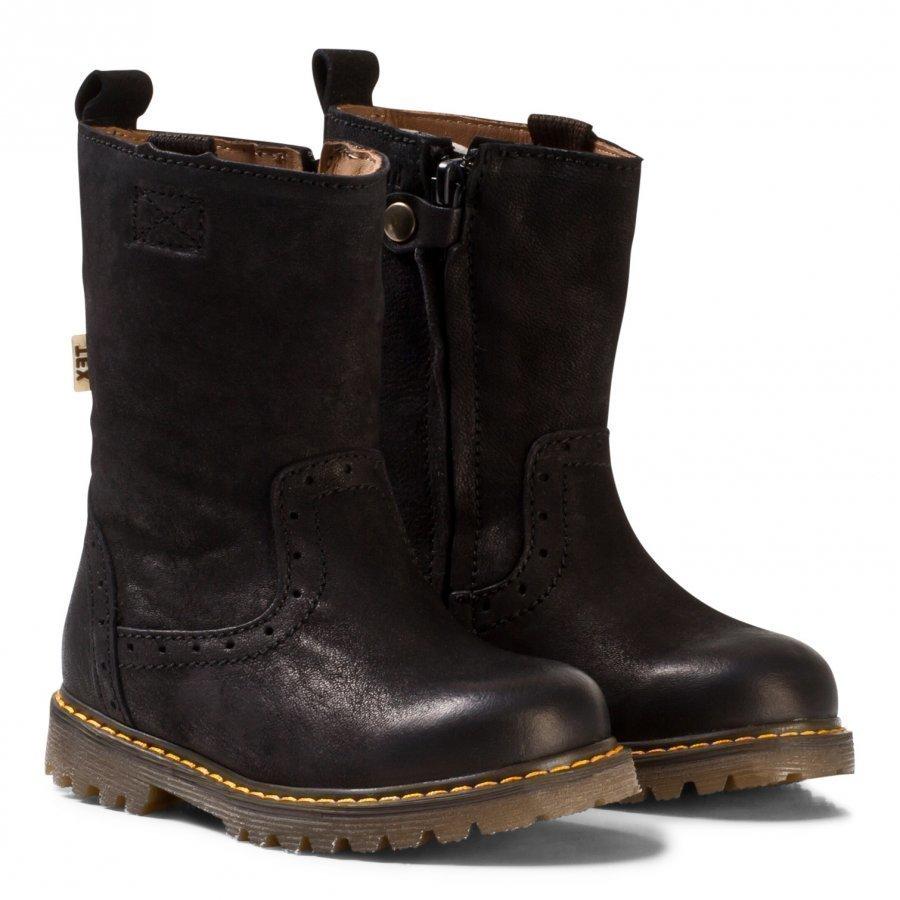 Bisgaard Tall Boots Black Korkeavartiset Saappaat