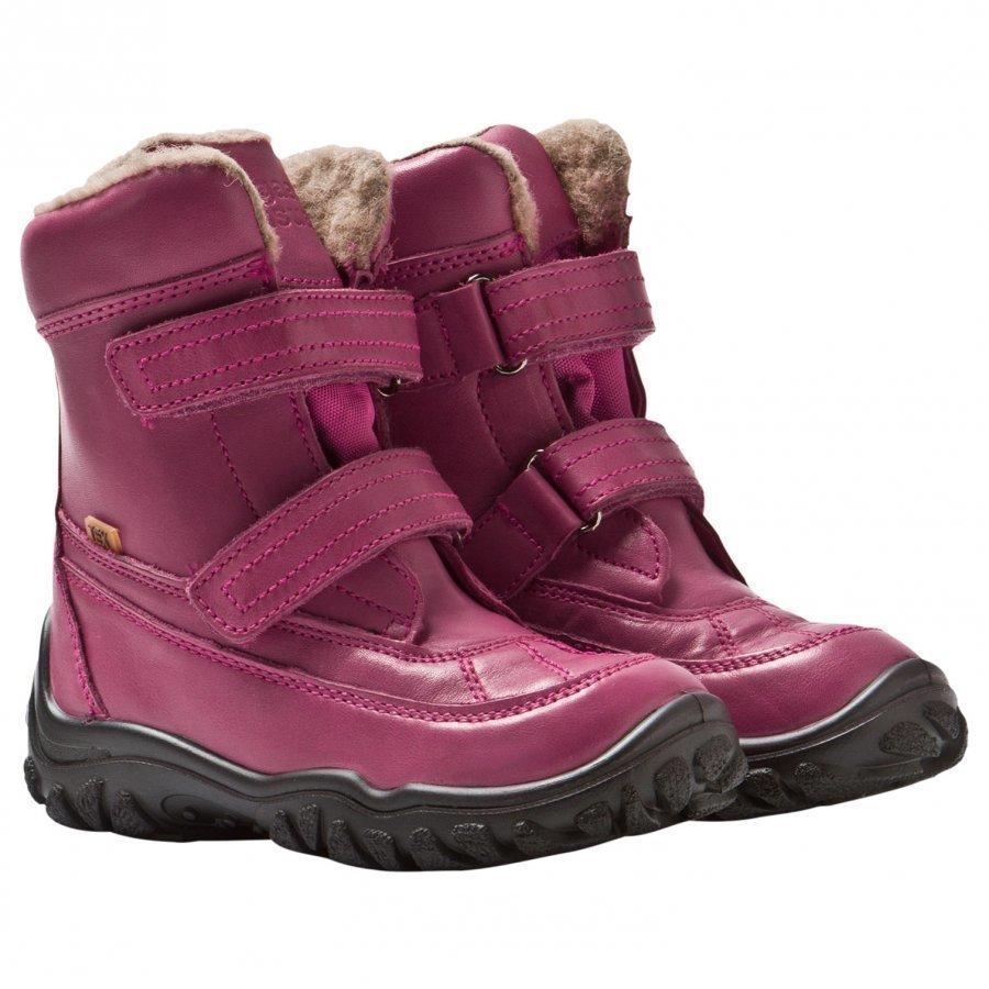 Bisgaard Tex Boots Wool Lining Velcro Pink Korkeavartiset Saappaat