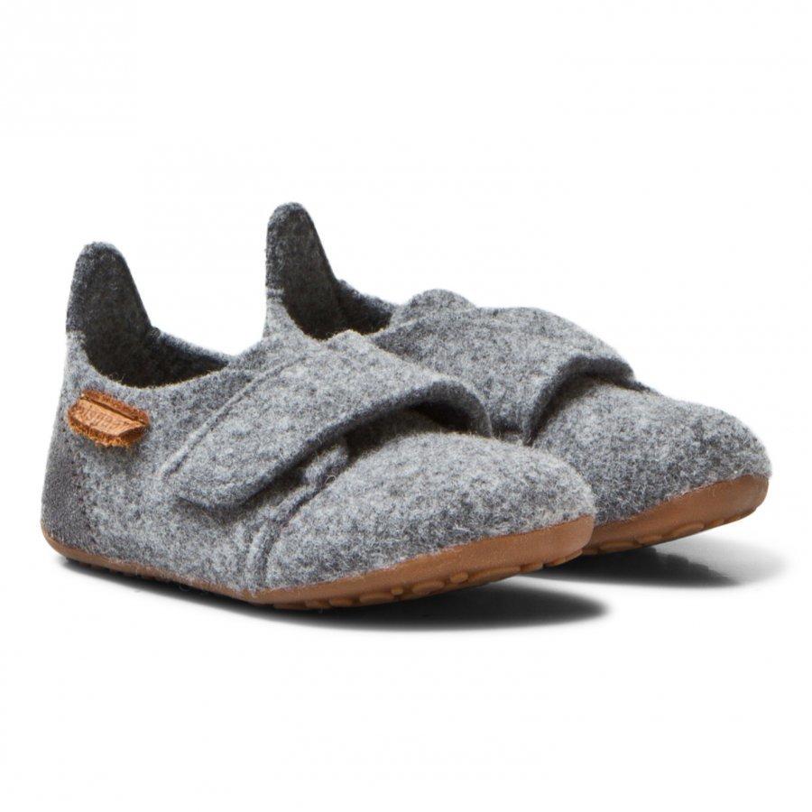 Bisgaard Wool Velcro Home Shoe Grey Korkeavartiset Tossut