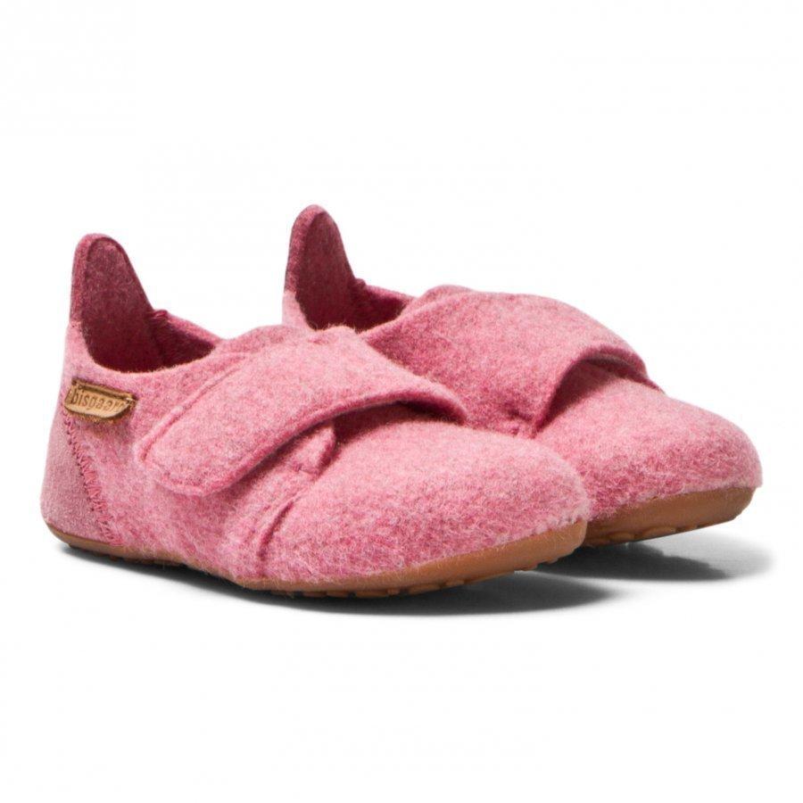 Bisgaard Wool Velcro Home Shoe Rosa Korkeavartiset Tossut