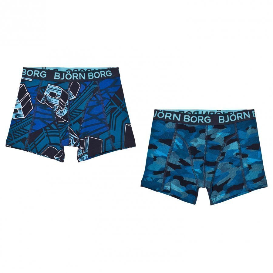 Bjorn Borg 2 Pack Of Black And Grey Camo And Branded Trunks Bokserit